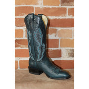 "Ladies 13"" Leather Boot In Blue Calf W/Turquoise And White Stitching-Atomic 79"