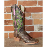 Ladies 13' Leather Boot in Brown Crater W/Embroidery-Atomic 79