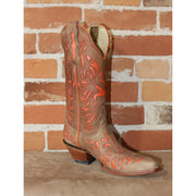 "Ladies 13"" Leather Boot in Maple W/Orange Inlay-Atomic 79"