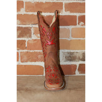 "Ladies 13"" Leather Boot in Maple W/Red Inlay-Atomic 79"