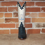 Ladies 13' Leather Boot in Navy Lizard and Parched Wheat Goat-Atomic 79