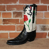 "Ladies 13""Calf and Goat Leather Boot in Black and Wheat Goat W/Rose Inlay and Vintage Collar-Atomic 79"