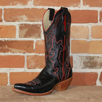 "Ladies 13""Leather Bootin Black W/Red Piping and Inlay-Atomic 79"