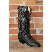 "Ladies 14"" Leather Boot in Black Bullhide W/White Stitching-Atomic 79"