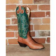 "Ladies 14"" Leather Boot W/Habanna Bullhide Foot and Green Volcano Top-Atomic 79"