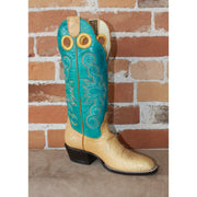 "Ladies 14"" Leather Boot W/Honey Bullhide Vamp and Turquoise Volcano Top-Atomic 79"