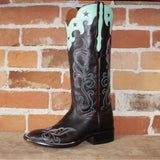 "Ladies 14"" Leather Boot W/Star-Scalloped Blue-Green Collar a Burgundy Vamp W/Fancy Toe Stitiching-Atomic 79"