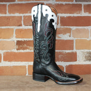 "Ladies 14"" Leather Boot W/Star-Scalloped White Collar a Black Vamp W/Fancy Toe Stitiching-Atomic 79"