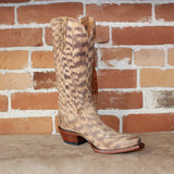 "Ladies 14"" Tall Suede Boots in Printed Tan W/Feather Fringe and Braided Pull Straps-Atomic 79"