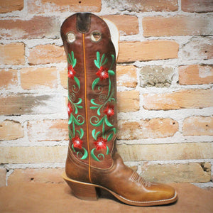 "Ladies 16"" Leather Rust Volcano Top Boot W/Red And Green Embroidered Floral Pattern-Atomic 79"