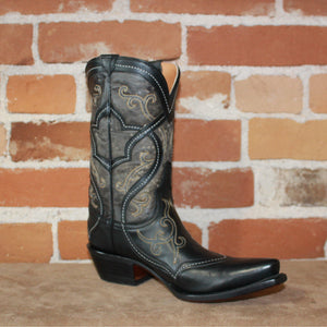 "Ladies 9"" Grey and Black Leather Boot W/ Wandering Overlaid Top Accent-Atomic 79"