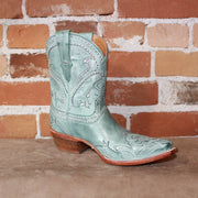 "Ladies 9"" Leather Studded Shorty Boot In Turquoise W/Petal Stitch-Atomic 79"