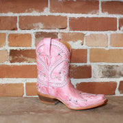 "Ladies 9"" Studded Shorty Boot In Pink Leather W/Petal Stitch-Atomic 79"