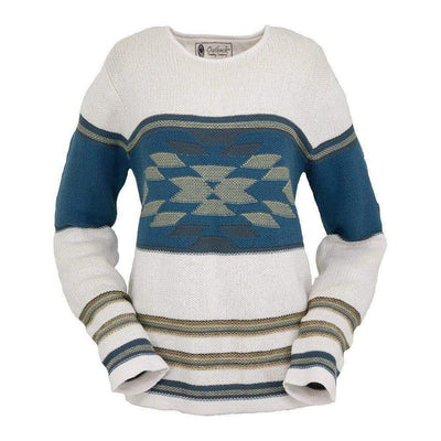 Ladies Alta Sweater in White Aztec Print-Atomic 79
