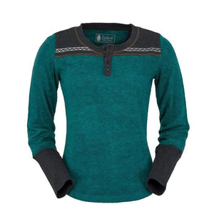 Ladies Becky Long Sleeve Fleece Sweater W/Grey and Teal Embroidery-Atomic 79