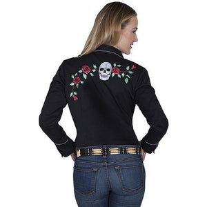 Ladies Black Long Sleeve Button Up W/Embroidered Skull Design-Atomic 79