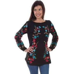 Ladies Black Tunic W/Turquoise and Red Embroidery-Atomic 79
