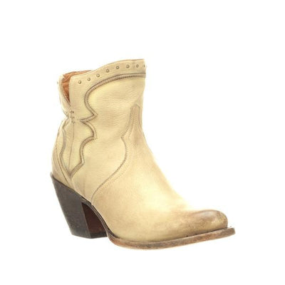 Ladies Bone Colored Leather Bootie W/Chording and Studs-Atomic 79