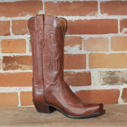 "Ladies Classic 12"" Leather Ranch Hand Boot W/ Cord and Embossed Design-Atomic 79"