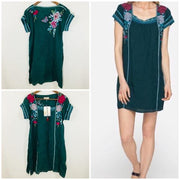 Ladies Eden Mexican Peasant Tunic in Green-Atomic 79