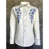 Ladies Extra Fine Blue Pastel Embroidered Shirt W/Mirror Center-Atomic 79
