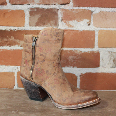 Ladies Floral Printed Shortie Boot In Brown Distressed Suede W/ Double Buckle-Atomic 79