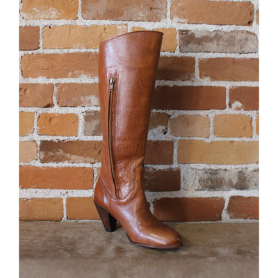 Ladies Jarrahwood High Boot W/High Heel In Tan Bark Kangaroo-Atomic 79