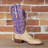 "Ladies Leather 12"" Boot ""Harlow"" Design W/Purple Top and Scalloped Topline-Atomic 79"