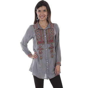Ladies Long Sleeve Embroidered Floral Blouse in Charcoal-Atomic 79