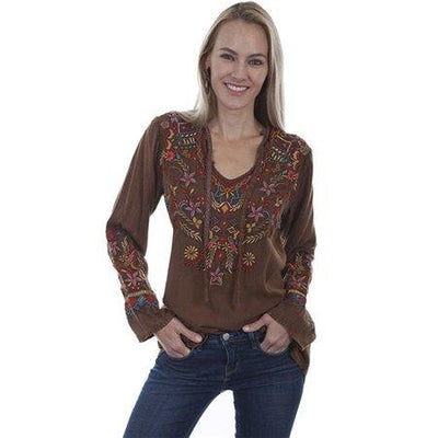 Ladies Long Sleeve V Neck Embroidered Shirt in Cinnamon-Atomic 79