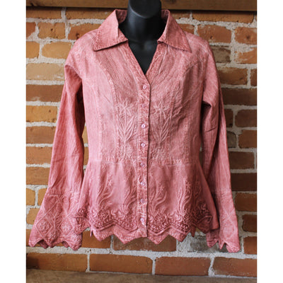 Ladies Peruvian Embroidered Long Sleeve Shirt In Dusty Rose-Atomic 79