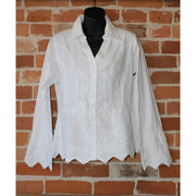 Ladies Peruvian Embroidered Long Sleeve Shirt In White-Atomic 79