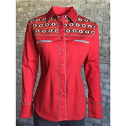 Ladies Vintage Native American Western Shirt in Red-Atomic 79
