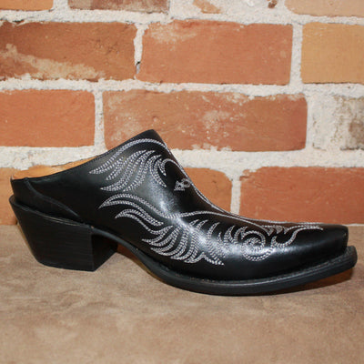 Ladies Western Mule (slide) In Black W/White Stitching-Atomic 79