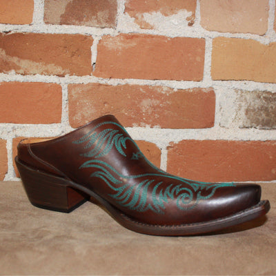 Ladies Western Mule (slide) In Burgundy W/Turquoise Stitching-Atomic 79