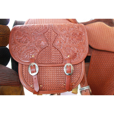 Large Leather Saddle Bags W/Floral and Geometric Stamping-Atomic 79