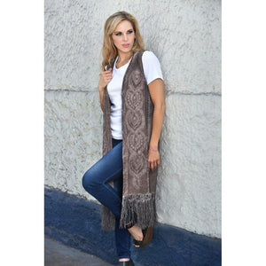 Long Cardigan Vest W/Fringe in Two Toned Rosewood-Atomic 79