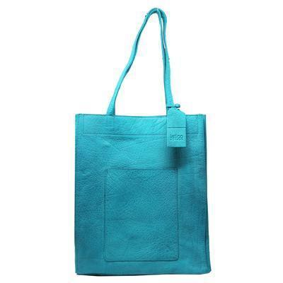 Macie 100% Leather Tote in Turquoise W/Raw Interior-Atomic 79