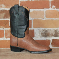 "Men's 10"" Leather Boot W/Natural Buffalo Shoulder Vamp and Dark Brown Top-Atomic 79"