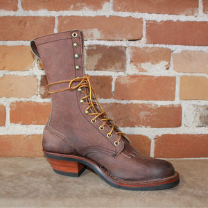 "Men's 10"" Leather Riding Packer Boot W/V Bar Rubber Comp Sole-Atomic 79"