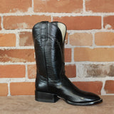 "Men's 11"" Calf Leather Boot in Black W/White Stitching-Atomic 79"