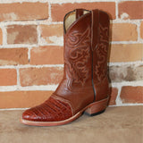 "Men's 11"" Leather Boot in Cognac Caiman and Ostrich-Atomic 79"