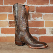 "Men's 12"" Goat Leather Boot in Antique Pearl and Chocolate-Atomic 79"
