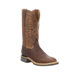 "Men's 12"" Leather Barn Boot in Chocolate and Peanut Cowhide-Atomic 79"