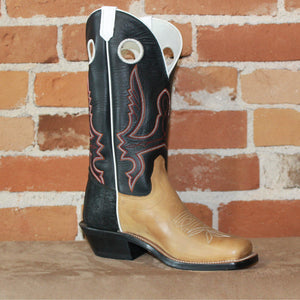 "Men's 12"" Leather Boot W/Mesquite Vamp Black Soft Top and White Piping-Atomic 79"