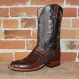 "Men's 12"" Ultra Belly Caiman Leather Boot in Barrel Brown-Atomic 79"