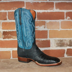 "Men's 12""Leather Boot in Exotic Caiman and Diego Inlay W/ Blue Top-Atomic 79"