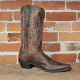 "Men's 13"" Goat Leather Boot in Chocolate Madras W/Classic Toe Medallion-Atomic 79"