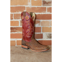 "Men's 13"" Leather Boot W/Rust Nubuck Vamp and Red Volcano Top-Atomic 79"