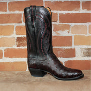 "Men's 13"" Ostrich Leather Boot in Black Cherry W/Looping Stitch-Atomic 79"